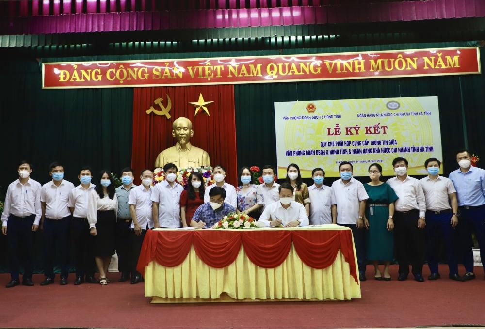 Văn phòng Đoàn ĐBHQ và HĐND tỉnh và Ngân hàng Nhà nước Chi nhánh tỉnh Hà Tĩnh tổ chức Lễ ký kết Quy chế phối hợp cung cấp thông tin